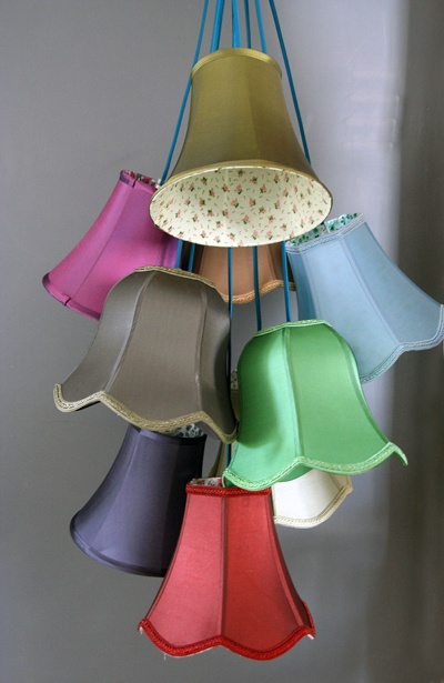 traditional #lamp shade cluster ceiling #light.  This would be quite easy to make.