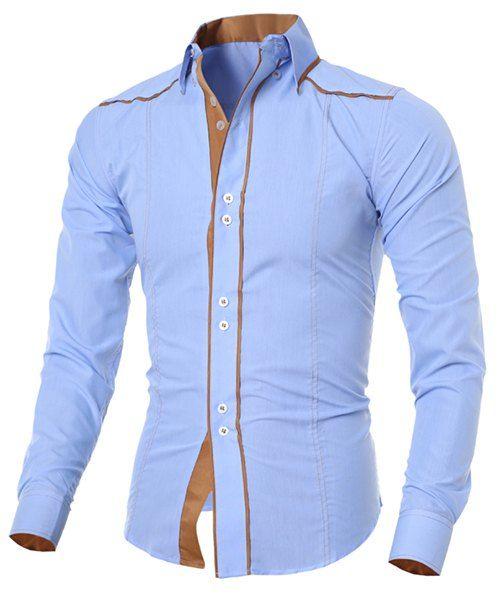 Camisa Moda de Poliéster de Delgado de Cuello Camisa de Mangas Largas Diseño Botónes de los Hombres