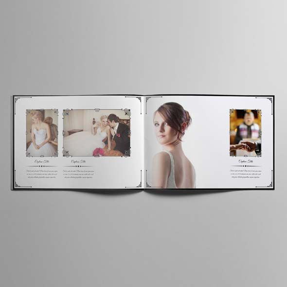 Wedding Photobook Template A4 Landscape V1 | CMYK & Print Ready | Vintage Design | A4 Landscape Format | Just drop the images into the frames (In Design) | 20 Different Spreads for your Memories Presentation