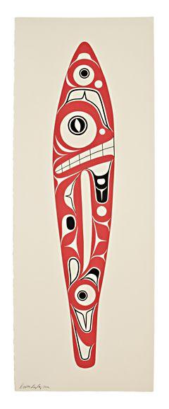 "Shark Paddle (edition of 100) by Preston Singletary, 30""h x 11""w, serigraph print, 2011"