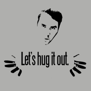 Let's Hug It Out Shirt: Never go to bed angry. Always hug it out. Special thanks to celebrity look alike Noel M. for allowing us to use his visage. #AATC