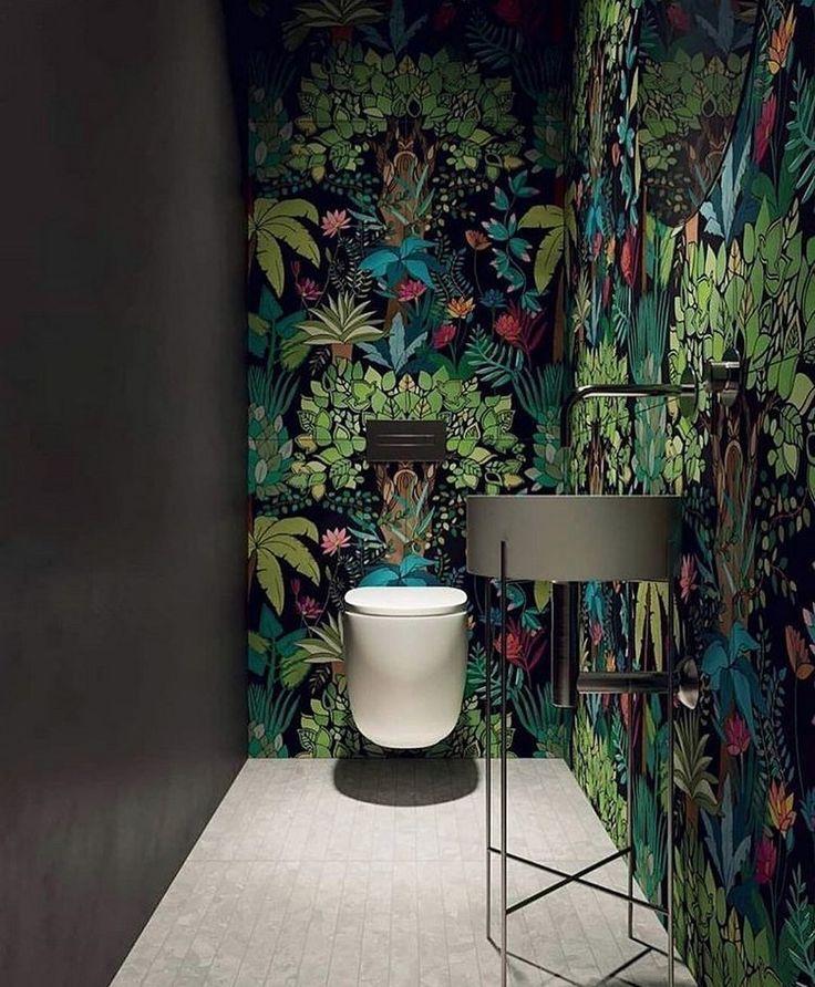 badezimmer einrichtung botanik-look dschungel tapete