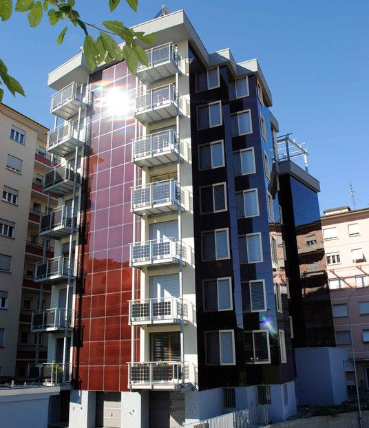 Using balconies to shade windows below