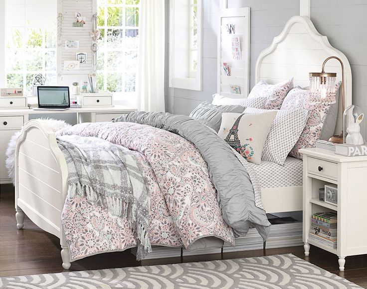 Bedroom For Girls teenage girl bedroom ideas shared bedroom pbteencute shelves Soft Grey Soft Pink White Color Scheme Teenage Girl Bedroom Ideas Whimsy