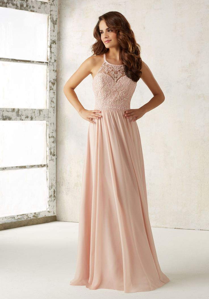 Morilee by Madeline Gardner Bridesmaids Style 21512 | Elaborate Embroidery and Beading Accents the Bodice of This Beautiful Chiffon Bridesmaids Dress. Criss Cross Back with Zipper Closure. Shown in Blush