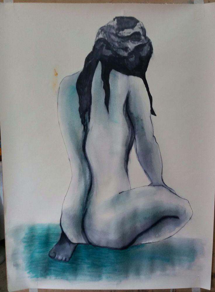 Dibujo de Figura femenina con técnica de Tinta china.
