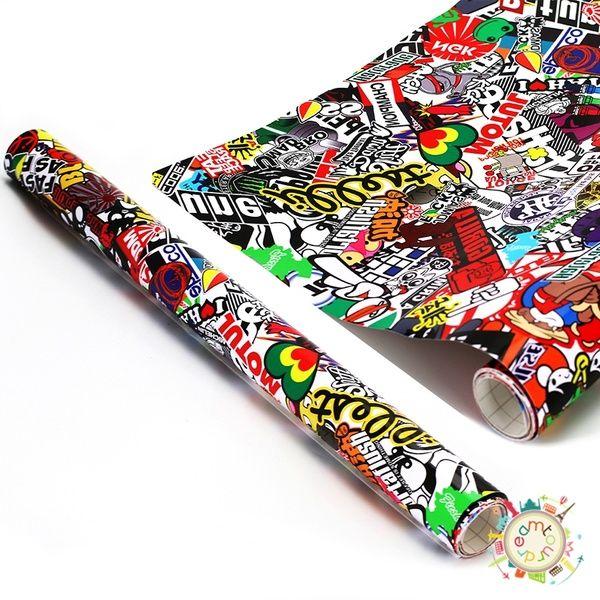 """Hot 60/"""" x 20/"""" JDM Cartoon Graffiti Car Sticker Bomb Vinyl Wrap Decal Stickers"""