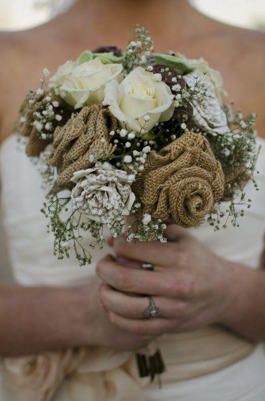 bridal bouquets with babys breath and burlap | ... bouquet: burlap flowers, story book flowers, felt flowers, babys