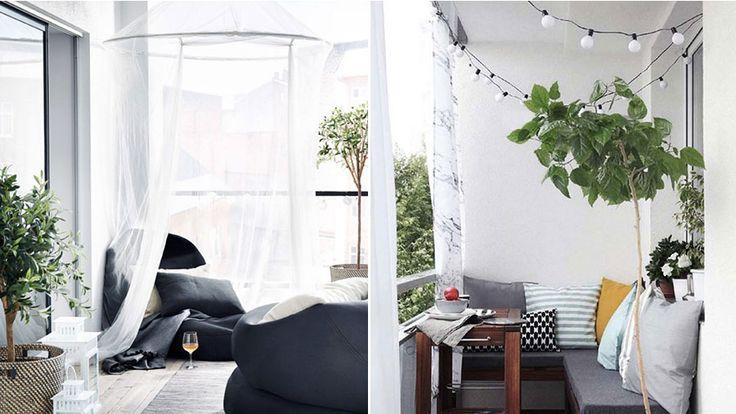 Nu är det hög tid att börja inreda balkongen. Gröna växter och sittmöbler är lika givna som mysbelysning och trägolv när många inreder sina extrarum.