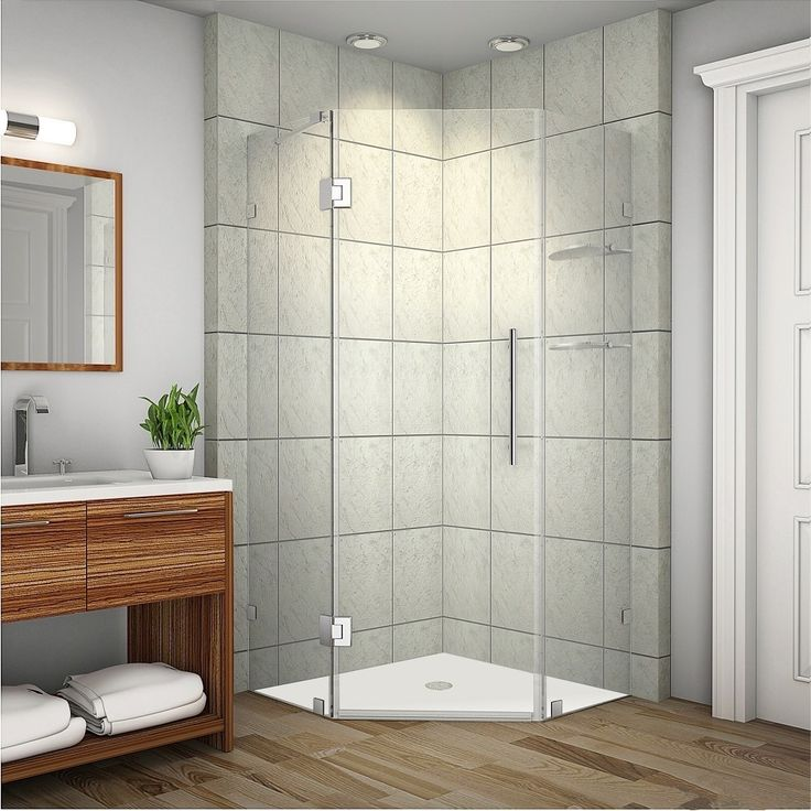 Aston Neoscape GS 42-in x 42-in x 72-in Completely Frameless Neo-Angle Shower Enclosure w. Glass Shelves in Chrome   Overstock.com Shopping - The Best Deals on Shower Doors