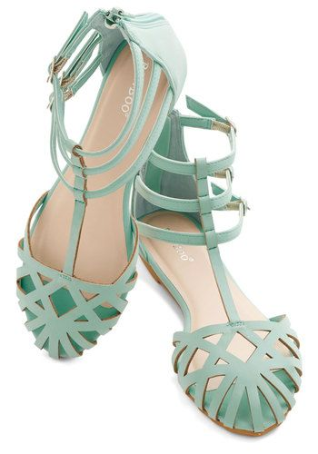 Dew the Honors Sandal in Mint - Flat, Faux Leather, Mint, Solid, Cutout, Beach/Resort, Pastel, Good, Variation
