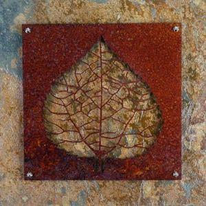 "12"" x 12"" metal aspen leaf on 16"" x 16"" slate"