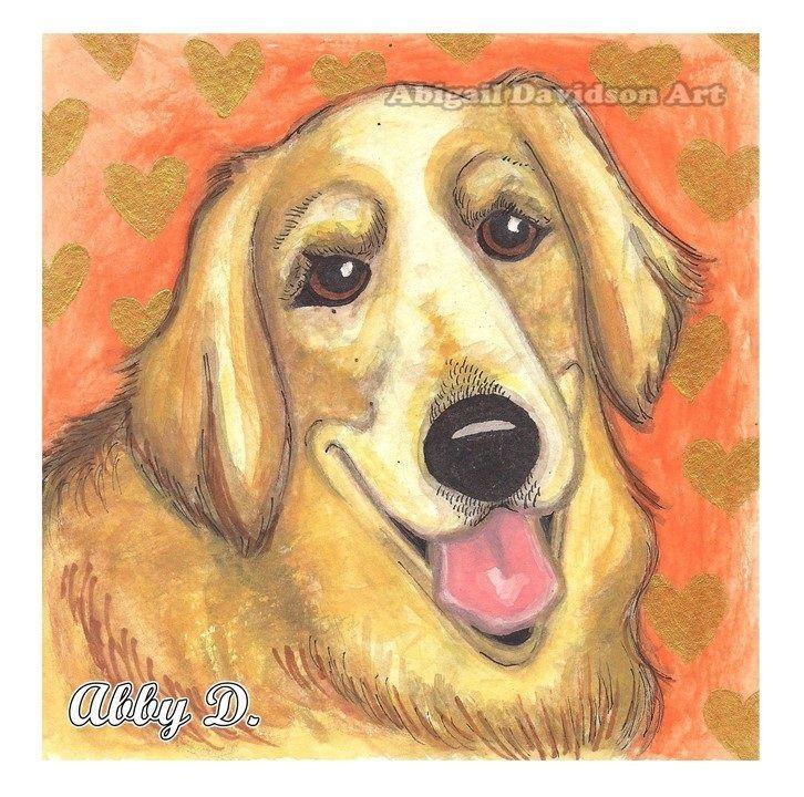 © Abigail Davidson - Golden Retriever Love, original illustration - color pencil, watercolor, pen, ink, acrylic