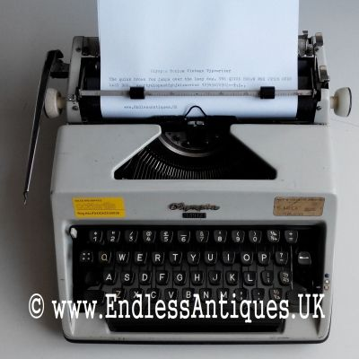 1960's Olympia Monica. I like how the original stickers are still in place! For sale at www.endlessantiques.UK! #endlessantiques #typewriter #typewriterfont #vintagetypwriter #vintagesale #vintagedecor #retro #german #1960s #cool #london #uk