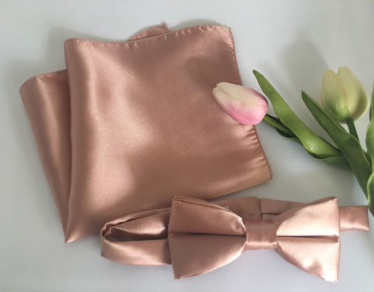 Rose Gold Bow Tie & Pocket Square Combo - Rose Gold Bowtie - Rose Gold Handkerchief - Rose Gold Wedding - Rose Quartz Bow Tie - Bowtie by OneDaintyTulip on Etsy https://www.etsy.com/listing/499985816/rose-gold-bow-tie-pocket-square-combo