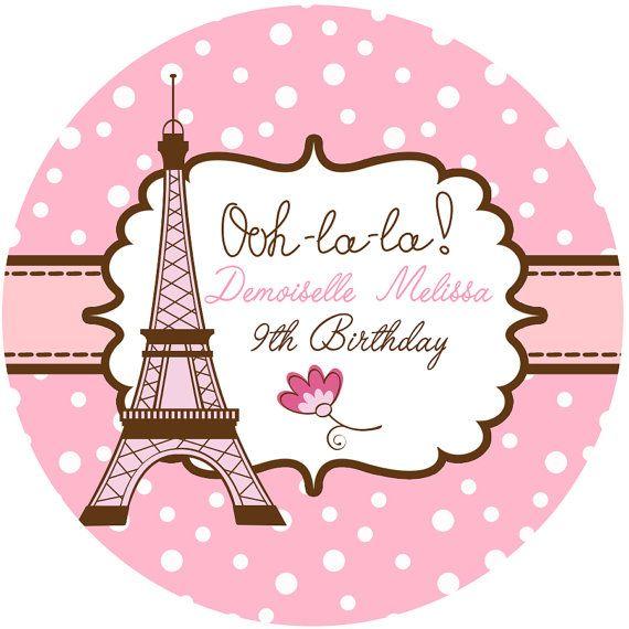 """Pegatinas personalizadas fiesta de París, Torre Eiffel fiesta etiquetas personalizadas tamaño 2.25"""""""