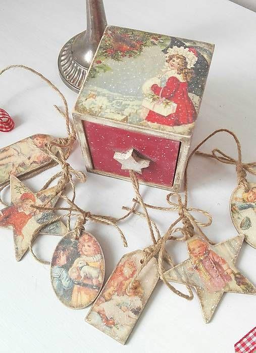 tinuszDecorArt / Vintage vianoce v červenom