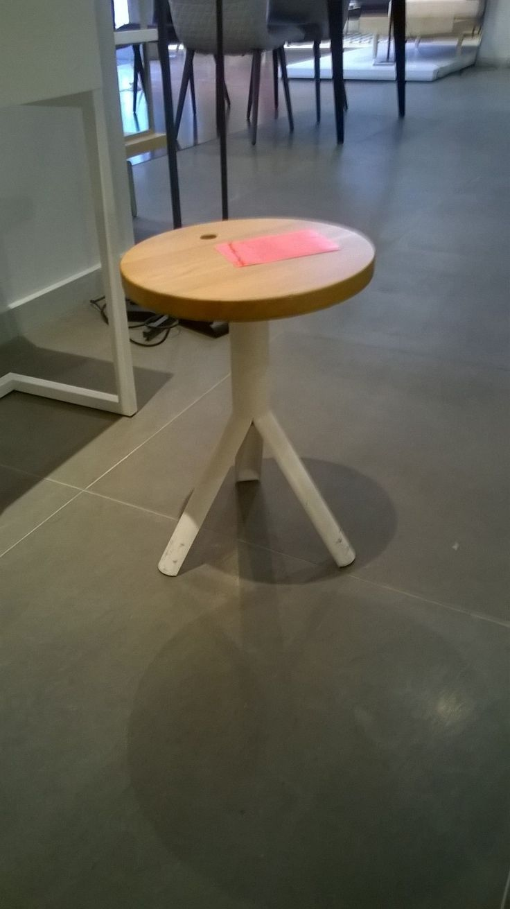 IKE stool. Height adjustable. Solid oak top, white lacquered steel base. Was £186, NOW £130.