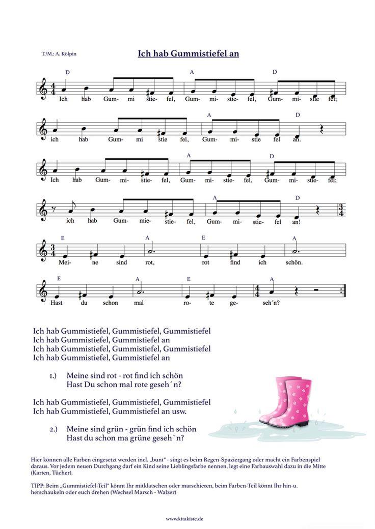 """Regenlied Gummistiefel Farben lernen """"Ich hab Gummistiefel"""""""