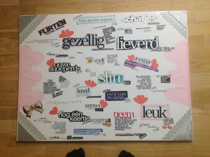 Een creatief cadeau van een vriendin, toen ik ging samenwonen! Tijdschriften collage noem ik het maar :)