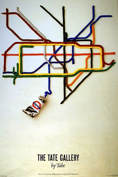The Tate Gallery By Tube; by David Booth of the agency Fine White Line, 1986 // Promotes the Tate Gallery and traveling by the London Underground at the same time.