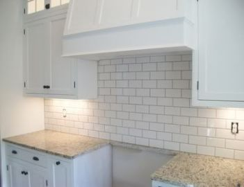 Kitchen backsplash with granite counters grey subway tiles 68 ideas