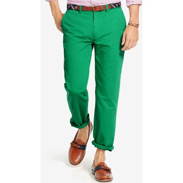 Polo Ralph Lauren Classic-Fit Flat-Front Chino Pants ($90) ❤ liked on Polyvore featuring men's fashion, men's clothing, men's pants, men's dress pants, academy green, mens green pants, mens chino pants, mens green chino pants, mens chinos pants and mens flat front dress pants