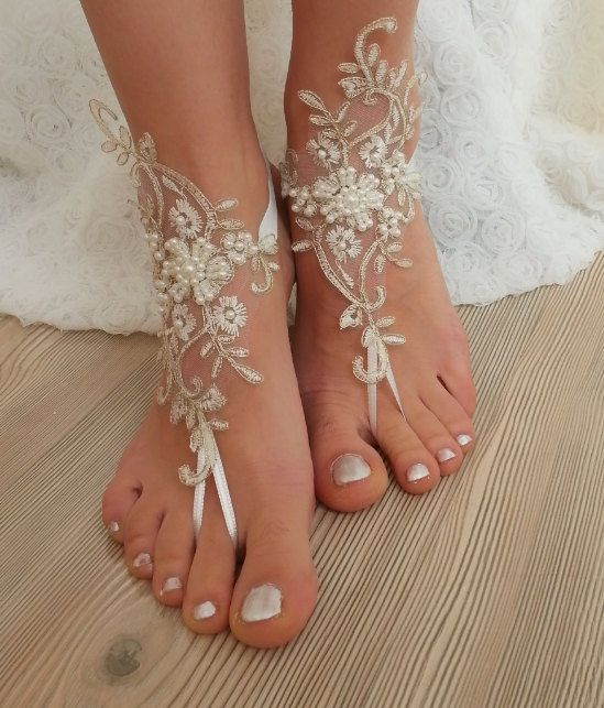 French lace barefoot sandals of good quality İvory gold frame Choose your foot number. Flexible ankle. Ready to ship. Shipment within 24 hours after