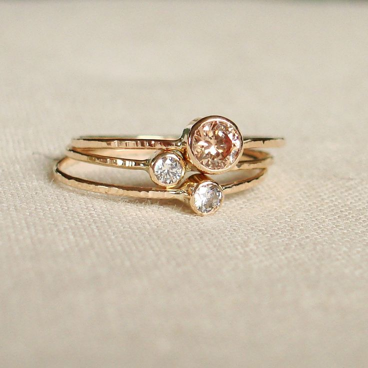 Sparkling Threads of Gold - Set of Three Tiny Stack Rings with 14k Gold Set Faceted Stones - Delicate. $168.00, via Etsy.