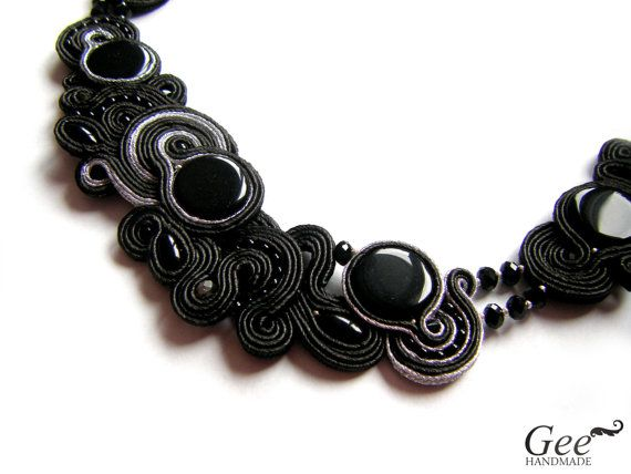 OOAK Soutache statement necklace Black Dance. Free by geehandmade