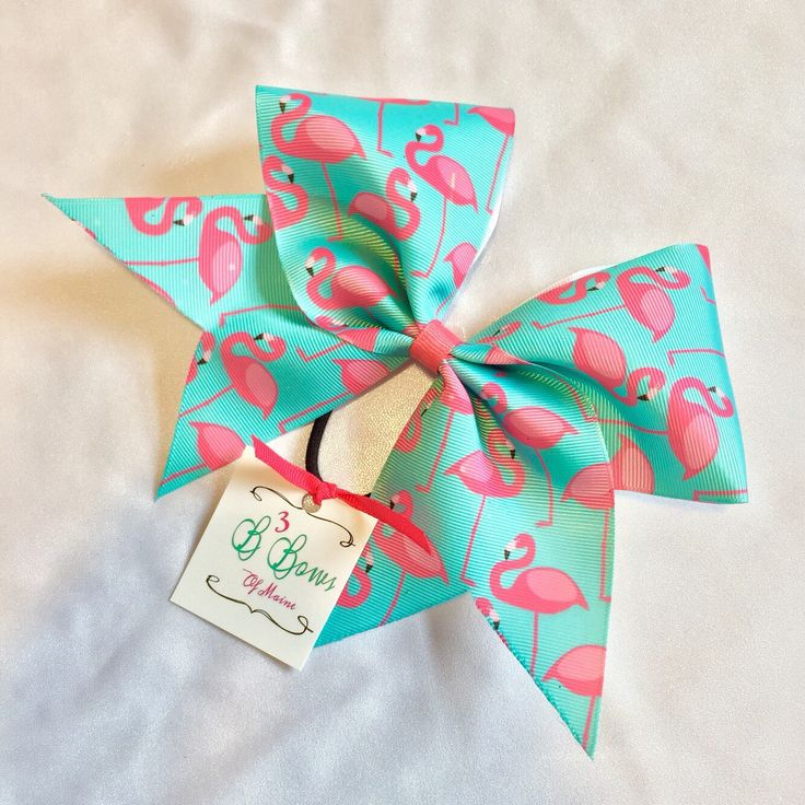 Flamingos Frenzy Sublimated Cheer Bow in pink/aqua, summer cheer bow, dyed cheer bow, cheer bow cheap by B3BowsMaine on Etsy https://www.etsy.com/listing/272325982/flamingos-frenzy-sublimated-cheer-bow-in