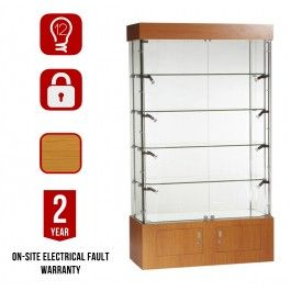 """<div class=""""collapsible""""><p class=""""bullet-title heading"""">12 Adjustable Halogen Lights (LED Available)</p><div class= """"block-content""""style=""""display: block;""""><ul class=""""bullet""""><li>This Cabinet comes fitted with 12 Adjustable Halogen Lights. These can be Upgraded to LED Lights. The Lights are held in position with satin silver fittings.</li></ul></div></div><div class=""""collapsible""""><p class=""""bullet-title heading"""">Made with Tempered Glass Pannels</p><div class= """"block-content""""style=""""display…"""