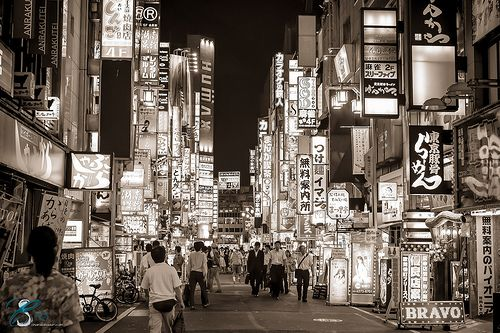 """Kabukicho, Tokyo, Japan. Kabukichō is an entertainment and red-light district in Shinjuku, Tokyo, Japan. Kabukichō is the location of many host and hostess clubs, love hotels, shops, restaurants, and nightclubs, and is often called the """"Sleepless Town"""" (眠らない街). The district's name comes from late-1940s plans to build a kabuki theater: although the theater was never built, the name stuck. ©(2013)ChiaraSalvadori   www.chiarasalvadori.com  """
