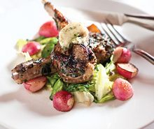 ... Chops with Roasted Radishes, Baby Spring Lettuces, and Anchovy Butter