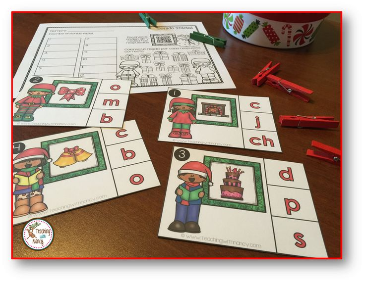 Spanish Christmas initial sounds stations. Perfect for your independent Daily 5 rotations.