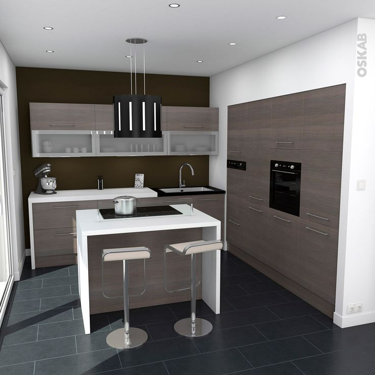 central de cuisson et espace repas, implantation en L, plan de travail