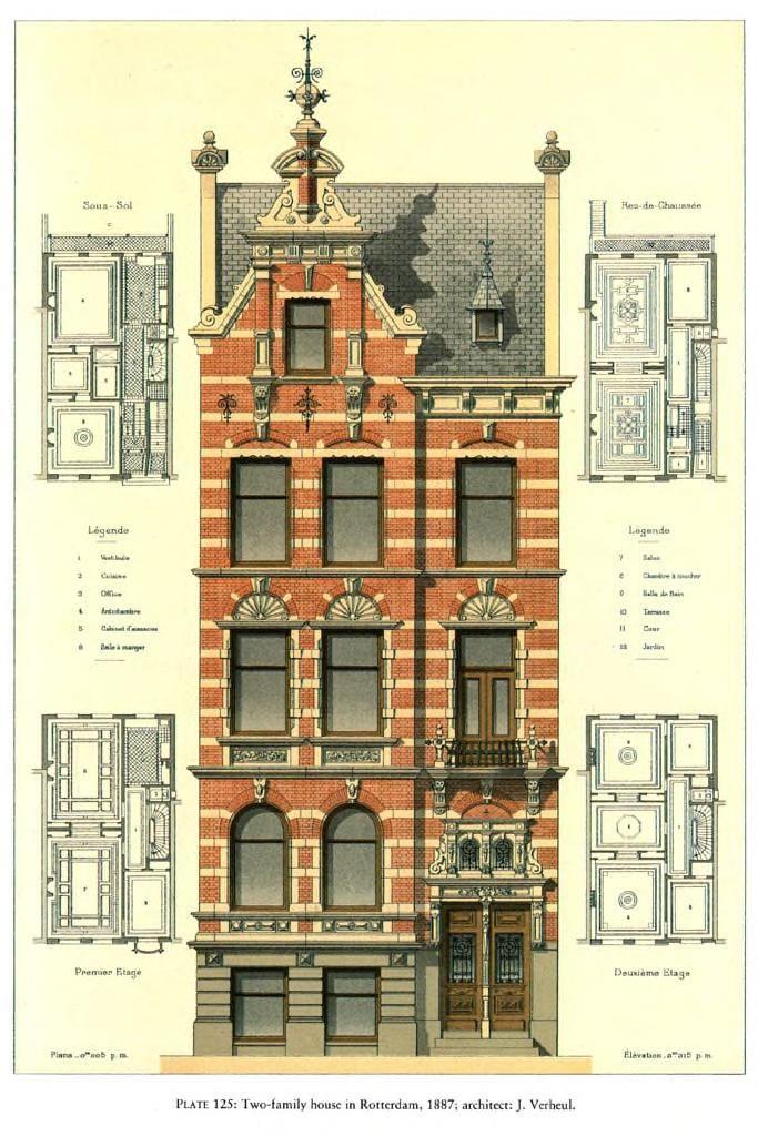 Projeto para uma casa para duas famílias, Roterdã / Arquiteto: J. Verheul   – Architekturzeichnung