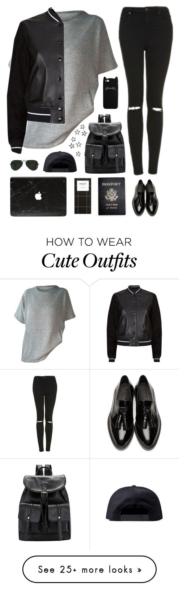"""Tomboy outfit"" by genesis129 on Polyvore featuring rag & bone, Burberry, Topshop, Ray-Ban, Black Scale and Passport"