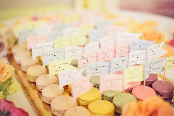 Love is sweet: pastel prettiness in central London - Spring weddings - Delicious Ladurée macaroons made a temptingly edible table plan!