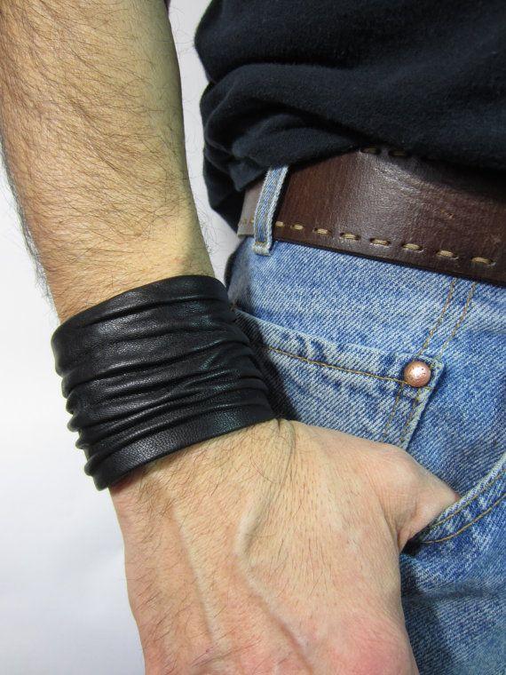 Mens Black Leather Cuff Bracelets Wristbands Crushed
