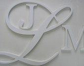 Painted Hanging  Monogram Letters Extra Large Fancy  Designer 40 inch combo shown in white SOLD PER LETTER. $168.88, via Etsy.