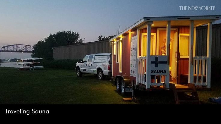 For the past eight months, a man from north of Helsinki has been driving around the U.S. with a portable sauna attached to the back of his pickup truck.