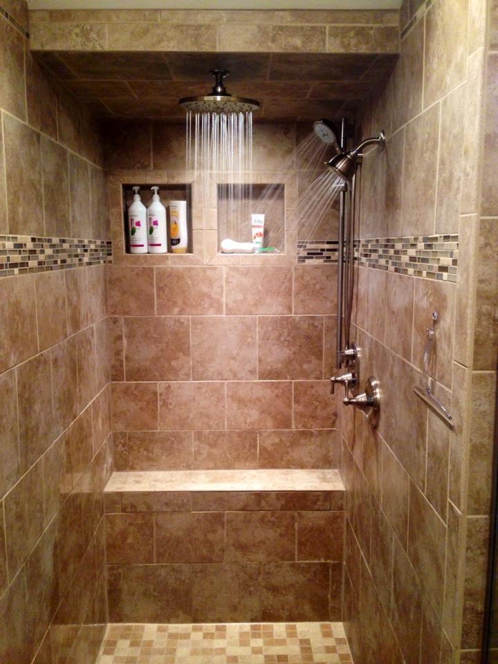 Walk In Tile Shower Three Shower Heads Rain Shower Tiled Bench