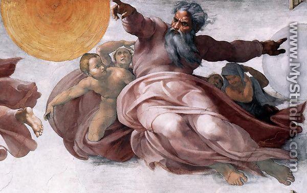 Creation of the Sun, Moon, and Plants (detail-1) 1511 - Michelangelo Buonarroti