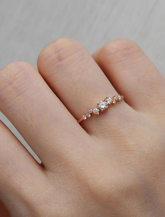 Diamond Cluster ring Twig engagement Ring Rose Gold Mini Floral Unique Wedding Women Bridal set Jewelry Multi Gift Promise Anniversary