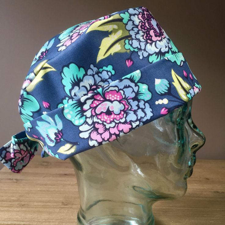 Custom Caps Company Beautiful Pink, Purple & Teal Flower Scrub Cap, Gorgeous Women's Flower Surgical Scrub Hat, Pixie Tie Back Scrub Hat by CustomCapsCompany on Etsy