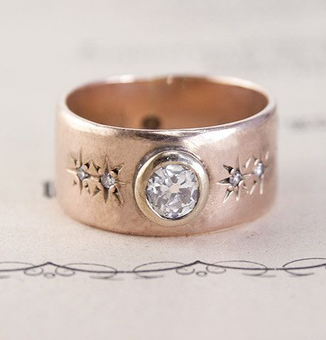 Late Victorian Rose Gold Band with .33ct Diamond, $1,900.00