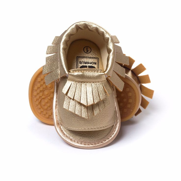"""Perfect for Spring & Summer! Fringe sandals with open toe Elastic around ankle Soft rubber sole PU leather material Size Guide: 1 - 4.37"""" 2 - 4.7"""" 3 - 5.2"""""""