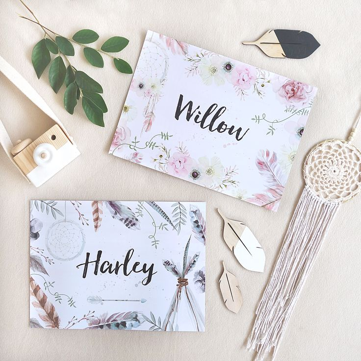 Personalised boho name prints in A4.