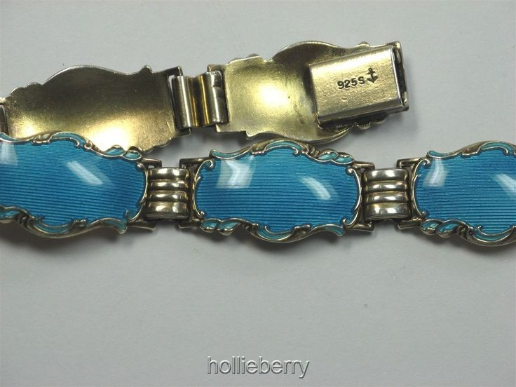 about  Norway Vintage BRACELET 925S STERLING Guilloche ENAMEL - Fancy Link - HANS MHYRE